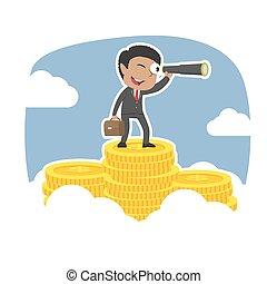telescoop, bovenzijde, muntjes, zakenman, piek, afrikaan, gebruik