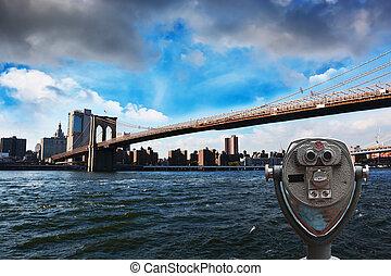 telescoop, brooklyn, tegen, york, nieuw, sightseeing