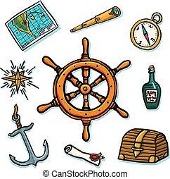 telescoop, rum, marinier, set., shipboard, roos, roer, uitrusting, achtergrond., kompas, kaart, anchor., boekrol, fles, romp, witte , wind