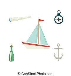 telescoop, scheeps , kompas, fles, tv nieuws , boodschap