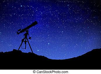telescoop, schouwend, de, wilky, weg