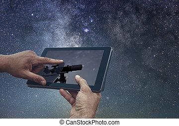 telescoop, tablet, ruimte, concept., hemel, exploratie, nacht, astronomie