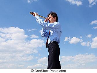 telescoop, zakelijk, jonge, door, blik, man