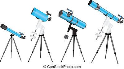 Telescope - 4 versions of telescopes on mounts
