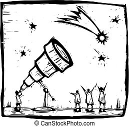Man with telescope spies a comet in the sky.