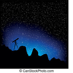 telescope and stars - detailed illustration of a telescope...