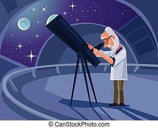 telescope., appartamento, carattere, scienziato, ...