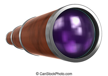 Telescope-binocular isolated on white background with...