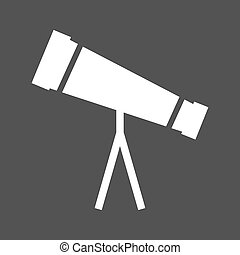 Telescope, binoculars, optical instrument icon vector image....