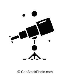 Telescope black icon, concept illustration, vector flat symbol, glyph sign.
