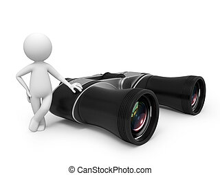 telescope - A 3d small people with a telescope