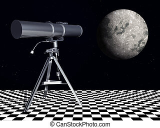 Telescope - Computer generated 3D illustration with a...