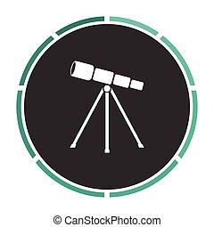 Telescope computer symbol - Telescope Simple flat white...