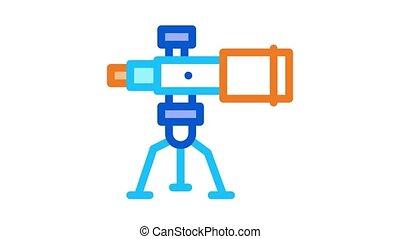 Telescope Equipment Icon Animation. color Telescope Equipment animated icon on white background