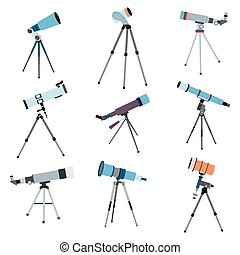 Telescope for astronomy. Optical instrument  search cosmos space. Vector