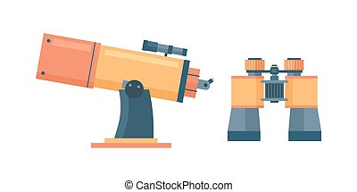 Telescope for astronomy science space discovery instrument vector illustration.