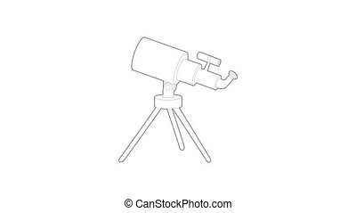 Telescope icon animation best outline object on white background