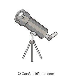 Telescope icon, black monochrome style