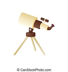 Telescope icon in cartoon style
