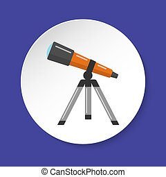 Telescope icon in flat style on round button