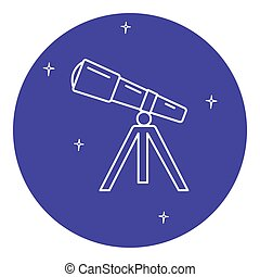 Telescope icon in thin line style