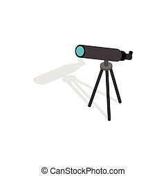 Telescope icon, isometric 3d style