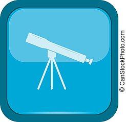 Telescope icon on a blue button