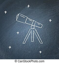 Telescope icon on chalkboard