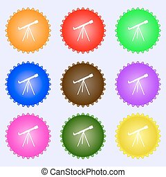Telescope icon sign. Big set of colorful, diverse, high-quality buttons. Vector