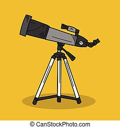 Telescope illustration on color background