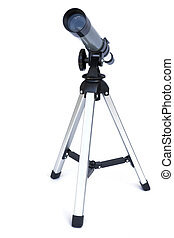 Image of an isolated silver and black telescope.