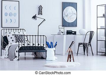 Telescope in teenager's bedroom