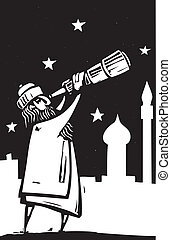 Telescope - Islamic man with a telescope scans the sky.