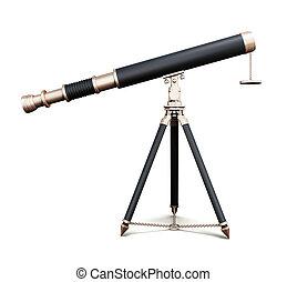 Telescope isolated on white background. 3d render image