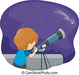 Telescope Kid - Illustration of a Boy Using a Telescope for...