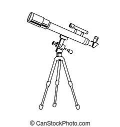 Download Telescope cartoon hand drawn image. original colorful artwork, comic childish style drawing.