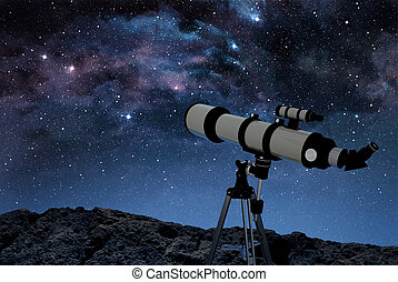 telescope on rocky ground under a starry night sky