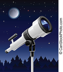 telescope on support vector illustration isolated on sky...