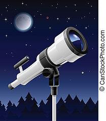 telescope on support vector illustration isolated on sky ...