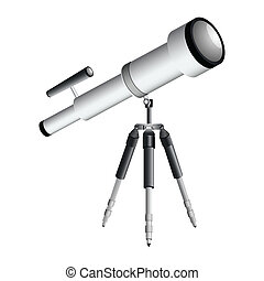 telescope on tripod against white background, abstract ...