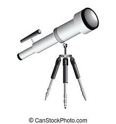 telescope on tripod against white background, abstract vector art illustration