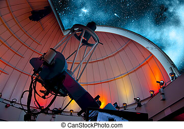 Telescope - Research telescope pointing at the sky ready for...