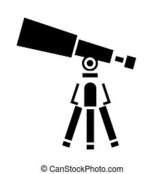 telescope - scope icon, vector illustration, black sign on isolated background