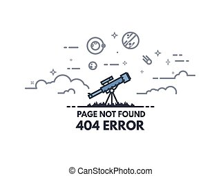 Telescope searching 404 banner - Page not found 404 design...