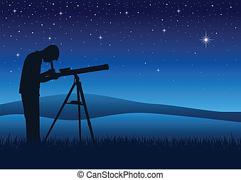 Telescope - Silhouette illustration of a person looking at...