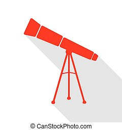 Telescope simple sign. Red icon with flat style shadow path.