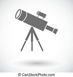 Telescope. Single flat icon on white background. Vector...