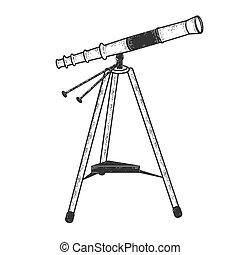 Telescope spyglass monocular sketch engraving vector ...