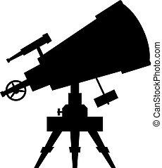 Telescope. Vector silhouette on white background