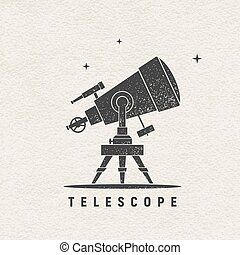 Telescope. Vector silhouette printed on textured paper....